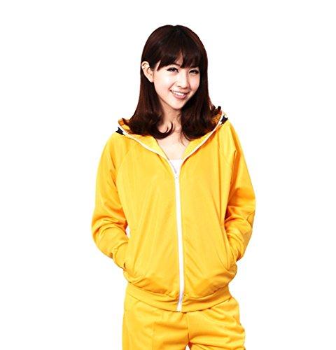 E-Mell Unisex Cosplay Miku Gumi Luka Rin Eye Pattern Zippered Hoodie,S(Bust 40.9in/104cm),Yellow ()