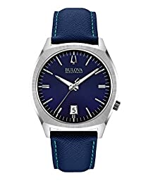 Bulova Accutron II Men's UHF Watch with Blue Dial Analogue Display and Blue Leather Strap - 96B212