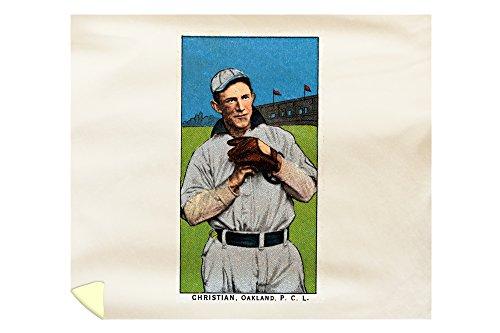Oakland Pacific Coast League - Christian - Baseball Card (88x104 King Microfiber Duvet Cover) by Lantern Press