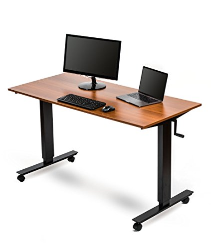Crank Adjustable Height Standing Desk 56 Inches Wide, Black Frame Teak Top