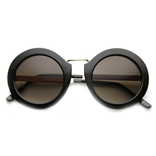 zeroUV - Women's Metal Oversized Two-Toned Color Tinted Round Sunglasses (Shiny-Black-Gold - Avant Sunglasses Garde