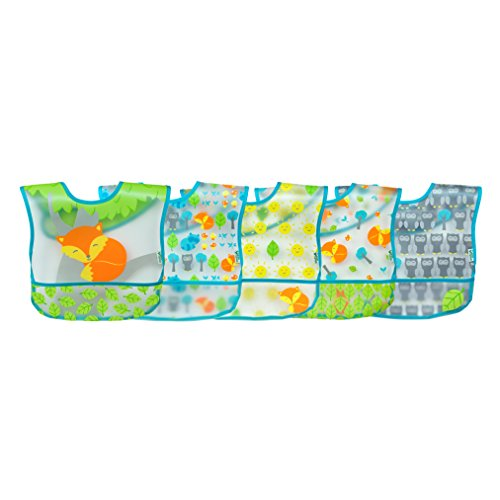 green sprouts Wipe-Off 5 Piece Bibs, Aqua Fox by green sprouts