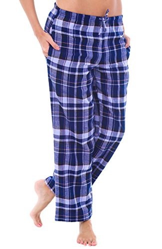 Alexander Del Rossa Women's Flannel Pajama Pants, Long Cotton Pj Bottoms, XL Blue Plaid (A0702Q18XL)