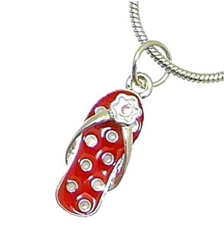 Neptune Giftware Beautiful Metal & Enamel Flip Flop Pendant On Silver Color Snake Chain - Adjustable 44-50 cm - FLIP FLOP STYLE E