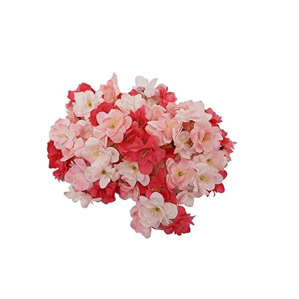 Summer Flower Silk Blooming Cherry Blossoms Sakura Heads Artificial Flower Arrangement Wedding Party Home Garden Decoration,Pack of 20 (Peach Pink)