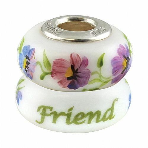 Fenton Heartstrings Bead - Friend - Handmade USA Made Glass Handpainted ()