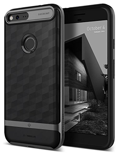 Google Pixel Case, Caseology [Parallax Series] Slim Dual Layer Protective Textured Geometric Cover Corner Cushion Design for Google Pixel (2016) - Black