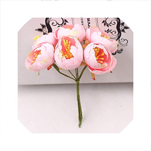 6Pcs Mini Tea Rose Bud Artificial Flowers for Wedding Home Decoration Jewelry Accessories Fleurs Scrapbooking DIY Craft Supplies,Pink,3Cm