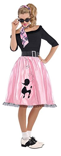 amscan Sock Hop Sweetie 50's Halloween Costume for Women, Large, Black with Included Accessories ()