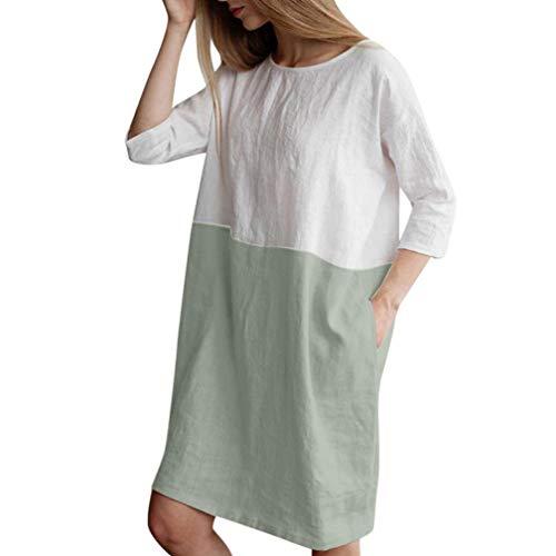 422a50bea4 Casual Algodón Verde Bolsillos Mujer Lino ❤ Mangas Vestido 1 Túnica Vestidos  Con Camisetas Casual ...