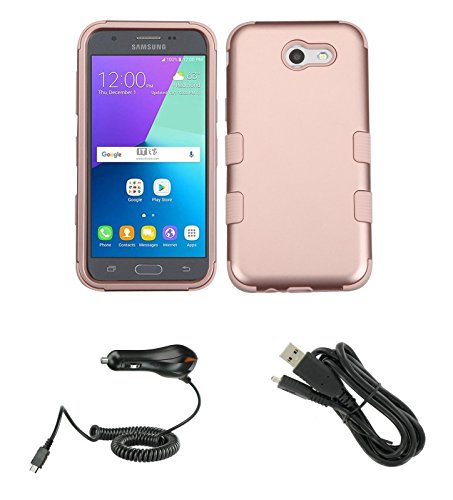 TUFF Series Military Grade Case (Rose Gold Pink) Bundle with Atom LED, 1,100 mAh Car Charger and Micro USB Cable for Samsung Galaxy J3 (Luna Pro, J3 Prime, Eclipse, Emerge, Amp Prime 2, Sol 2)