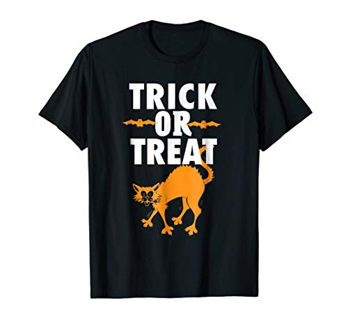 Trick and Treat Cat Funny Halloween Quote for woman and men]()