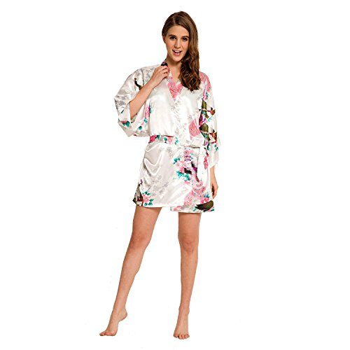 Women's Peacock Kimono Robe SR-13 With A Free Gift (Extra $10 Value) (X-Small, White)