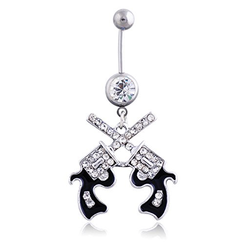 Love Dream 316L Double Gun Dangle Surgical Steel Belly Button Ring Jewelry Gift For Your -