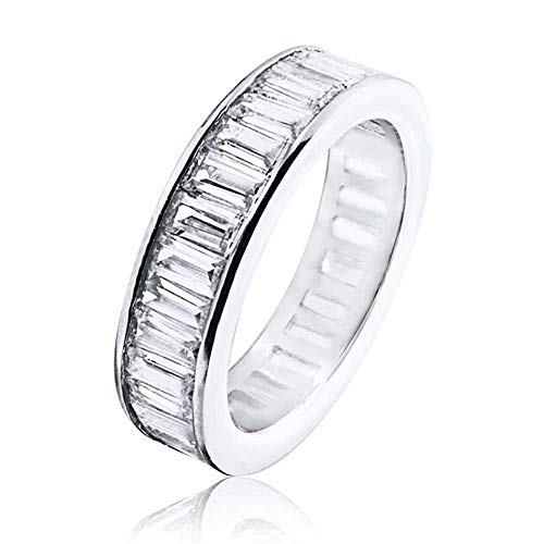 Channel Set CZ Wedding Band Sterling Silver Eternity Ring (Channel Set Eternity Band)