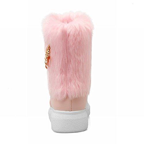 Carolbar Womens Chains Sweet Cute Warm Comfort Nepbont Snowboots Roze