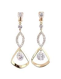Grace Jun Fashion Bridal Rhinestone CZ Long Clip on Earrings Non Piercing for Women Ear Clip
