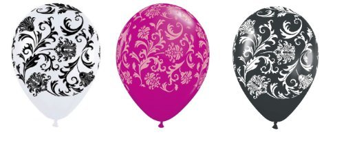 36 Assorted Black White Pink Damask Print Balloons -