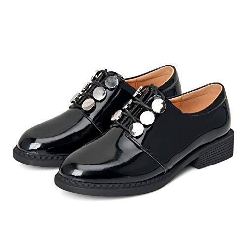 Trabajo Oficina Lithapp Jane Planos De Mary Metálica Hebilla Mocasines Zapatos Cuero Perezosos Black Charol wRwcCBFq