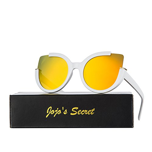 JOJO'S SECRET Oversized Cat Eye Sunglasses For Women JS042 (White, - Sunglasses Cat 2017 Eye