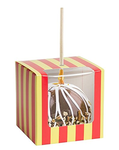 Candy or Caramel Apple Box - Whimsical Carnival Stripes Design, 18pt Board, 4x4x4, Slit on Top of Box for Stick, Clear Front Window Wrapping to Top, 100 Containers, Ships Flat, Fits Standard Apples