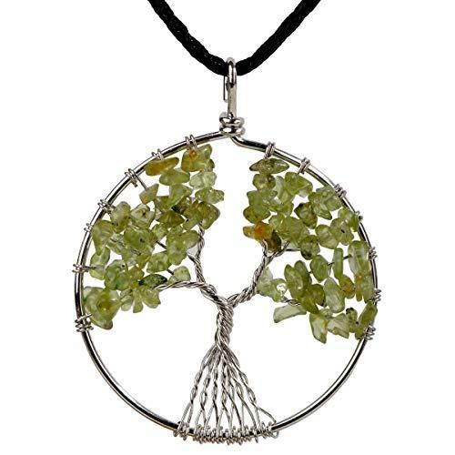 YACQ Peridot Tree of Life Gemstone Pendant Necklace Wire Wrapped Filigree Healing Chakra Spiritual Natural Raw Stone Handcrafted Birthstone August Handmade Jewelry for Women 18