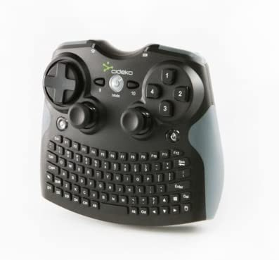 Cideko AK10 Mini Teclado/ratón inalámbrico Joystick para PC / PS3 Negro