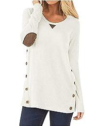 Freemale Women Casual Sweatshirts Long Sleeve Faux Suede Top Button Tunic Blouse