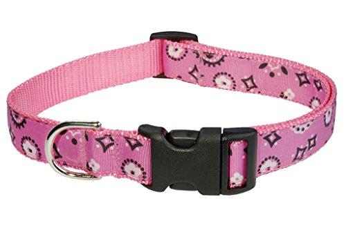 """Sassy Dog Wear 1"""" x 18""""-28"""" Bandana Dog Collar, Large, Pink"""