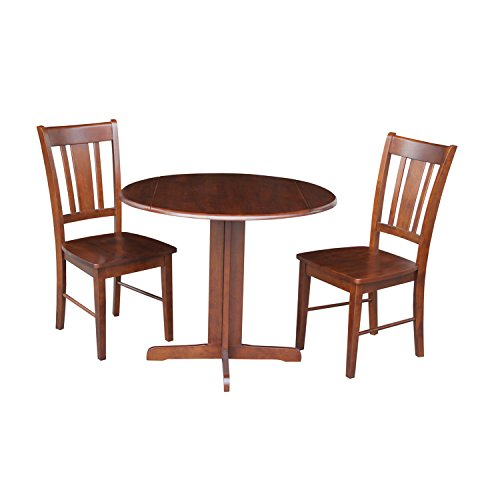 International Concepts Dual Drop Leaf Table with 2-San Remo Chairs, 36-Inch, Espresso, Set of 3