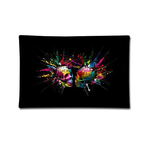 Jingclor 20''X30'' Pillow Covers Black Colorful Skull Double Printed Pillow Cases Cotton Sofa Cushion Cover for Home Decor by Jingclor