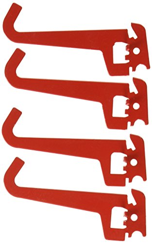 - Wall Control Pegboard 3-1/2in Reach Curved Tip Slotted Hook Pack - Slotted Metal Pegboard Hooks for Wall Control Pegboard and Slotted Tool Board - Red