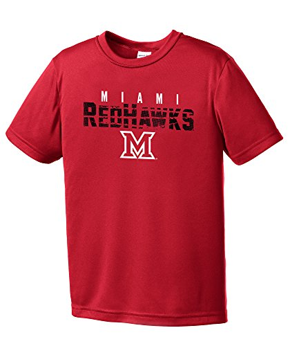 Miami Ohio Redhawks Baseball (NCAA Miami (Ohio) Redhawks Youth Boys Destroyed Short sleeve Polyester Competitor T-Shirt, Youth X-Large,Red)