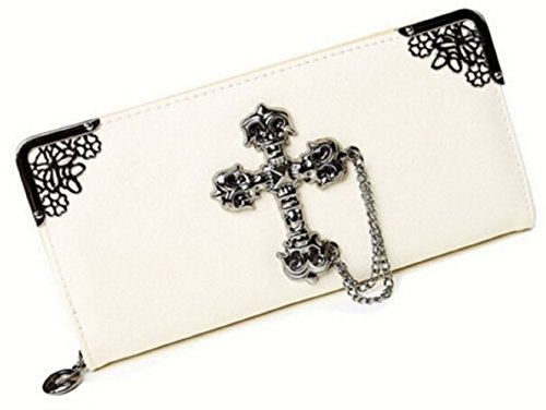 Stylish Cross Long Wallet Purse Card Case Holder with Chain (White) (Christmas Color By Number Printables)