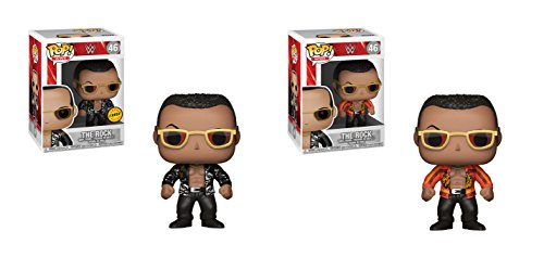 Funko POP! WWE: The Rock LIMITED EDITION CHASE and The Rock NON CHASE Toy Action Figure - 2 POP BUNDLE by Funko