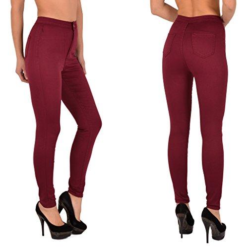 Jean tex J341 surdimensionner Femme by Pantalon Haute bordeaux Skinny Slim Jeans Z92 Taille Femmes Femme d5PxAOqx