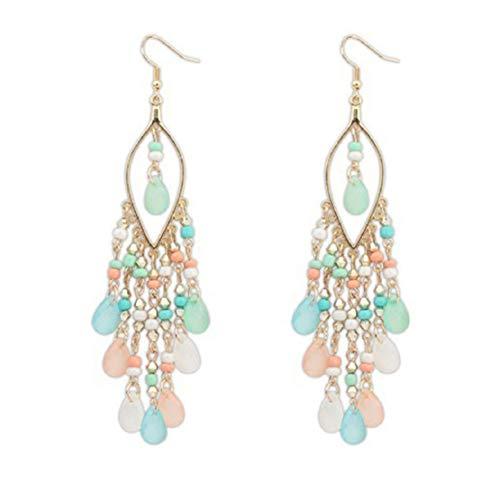 Elegant Teardrop Earrings Long Tassel Drop Dangle Earrings Vintage Hook Earrings Hawaii Vacation Beach Jewelry by Lowprofile