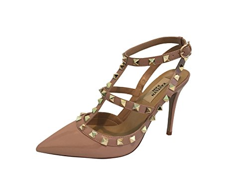 Kaitlyn Pan Pointed Toe Studded Strappy Slingback High Heel Leather Pumps Stilettos Sandals Poudre Patent/Nude Trim/Gold Studs h7TsUCNV8x