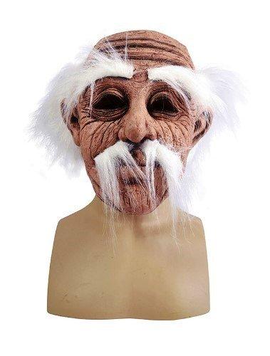 Old Man Latex Adult Fancy Dress Mask with Hair & Tash