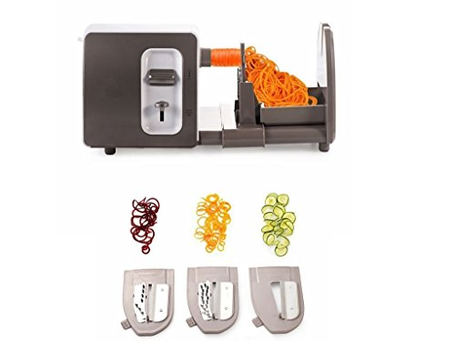 Spiralizer Vegetable Slicer,EverKing Electric Vegetable Spiralizer 3 Blades Compact and Heavy-Duty Spiral Vegetable Slicer - Turn Zucchini, Carrots, Potatoes and much more into Beautiful Long Strands