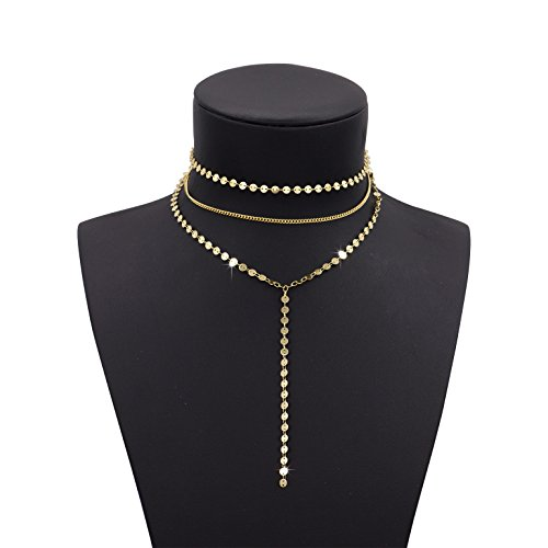 Women 2 Layers Gold Plated Coins Disc Necklace Gold - 1
