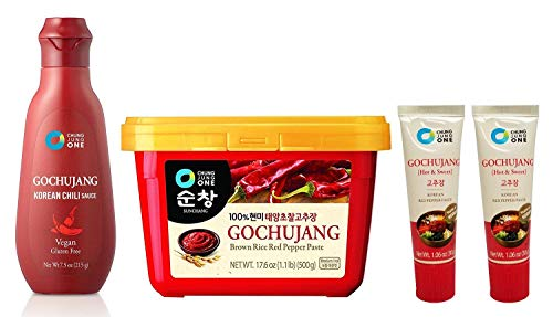 (Chung Jung One Korean Gochujang Chili Sauce Combo 4 Pack Portable Set (Gochujang 1.1 lb + 7.5 oz + 1.06 oz) Korean Red Pepper Paste)