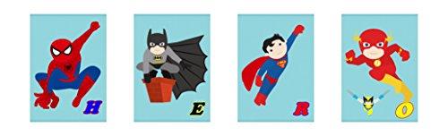 Kinderzimmer Bilder Set Super Helden (DIN A4)