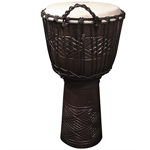 Sawtooth Tribe Series 12'' Hand Carved Congo Design Rope Djembe by Sawtooth
