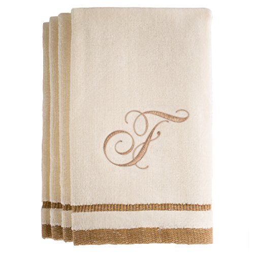 Monogrammed Gifts, Fingertip Towels, 11 x 18 Inches - Set of 4- Decorative Golden Brown Embroidered Towel - Extra Absorbent 100% Cotton- Personalized Gift- For Bathroom/ Kitchen- Initial F (Ivory) (Customized Gift Baskets Chicago)