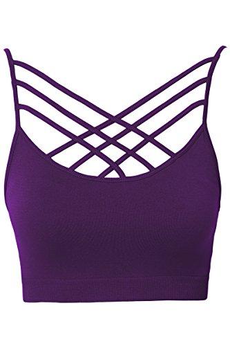 TheMogan Women's Rmovable Pad Cage Bustier Bra Top Strappy Bralette Dark Purple S/M