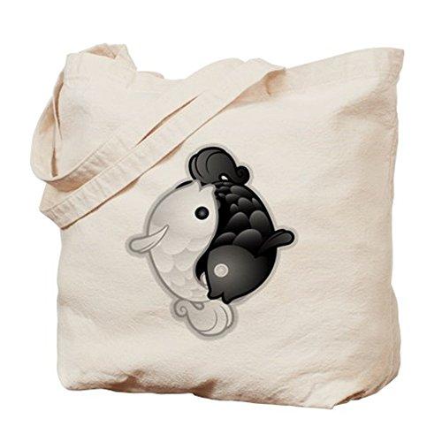 Cafepress–Yin Yang Koi–Borsa di tela naturale, tessuto in iuta