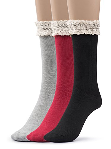 Silky Toes Women's Vintage Thick Warm Winter Casual Boot Socks with Lace 3 Pk +GB (Black, Grey, Red- Lace Trim- Gift Box) ()