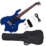 Glarry Cool Burning Fire Style Electric Guitar Christmas gift for Beginner Guitar Lover with Accessories Pack (blue)