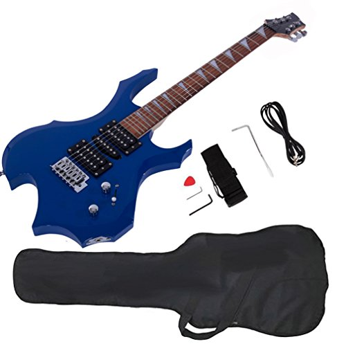 Glarry Cool Burning Fire Style Electric Guitar Christmas gift for Beginner Guitar Lover with Accessories Pack (blue) by GLARRY